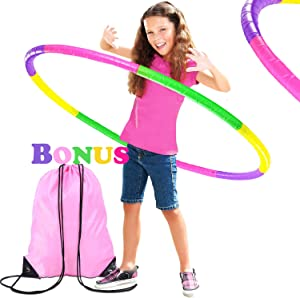 Kids Hoola Hoop w/ Gym Backpack, Detachable Weight/Size Adjustable Plastic Colourful Exercise Circle, Ideal Fitness Ring Toy for Play Game, Party Wreath, Gymnastics, Dance, Pet Training, Girls & Boys