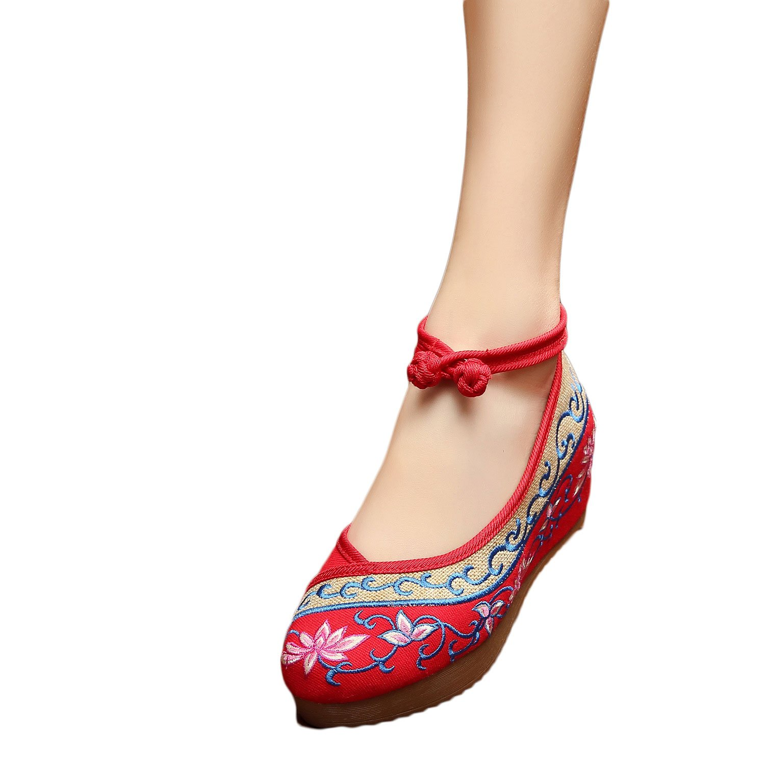 EXCELLANYARD Women's Embroidery Platform Wedges B01KL8GBOE 5 B(M) US 04-red
