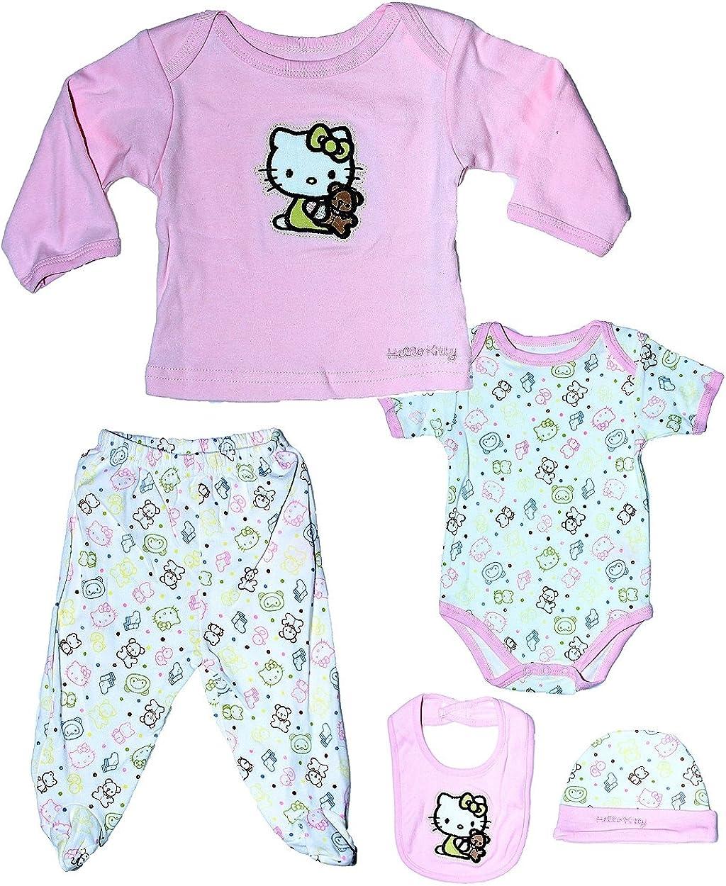 Hello Kitty Baby Girls Newborn Cotton Organics 5 Piece Gift Set
