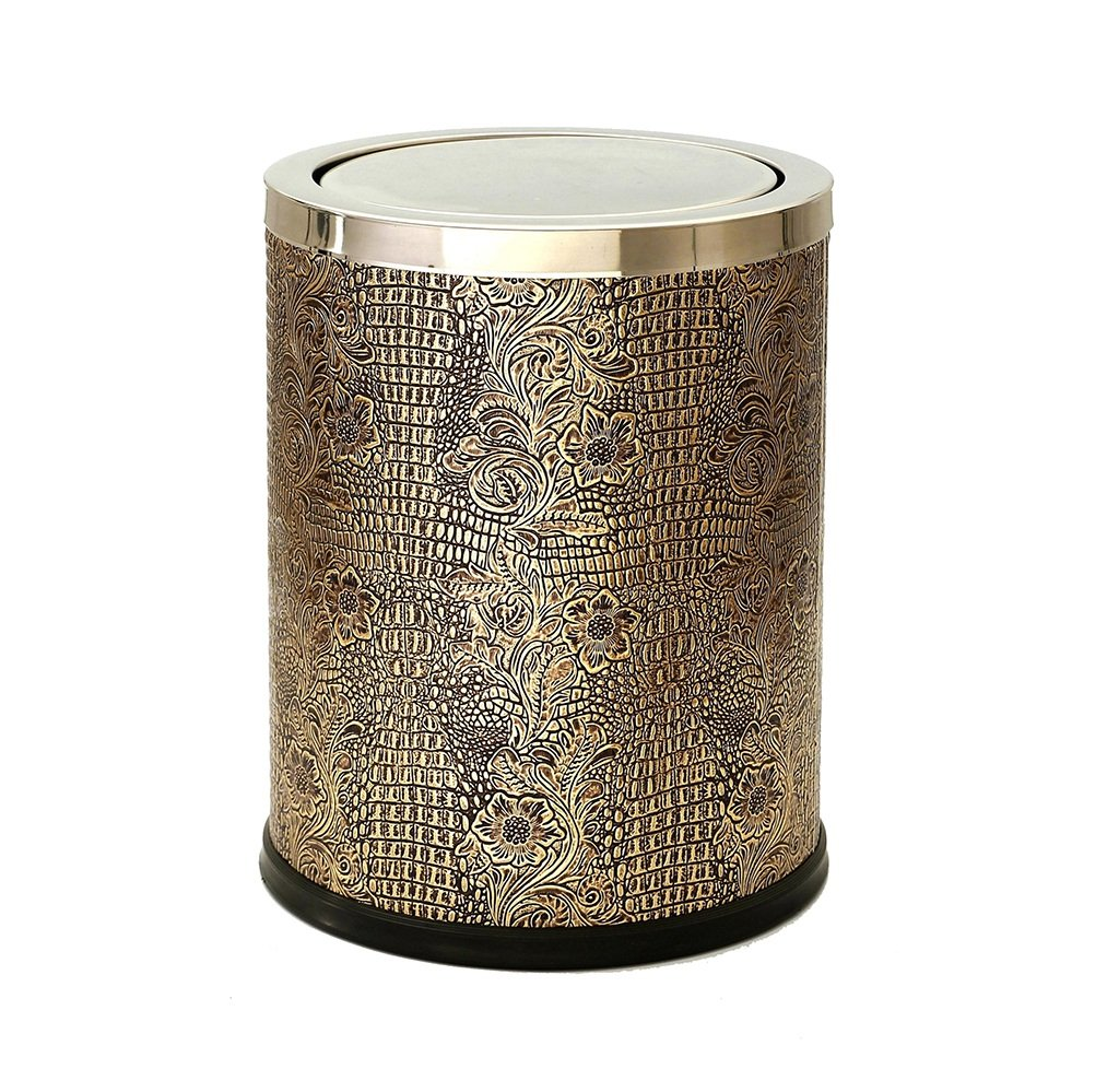 CSQ Flip Cover Trash Can, Stainless Steel Metal Trash Can Creative Living Room Hotel Leather Bedroom Trash Can Office Trash 12L Indoor