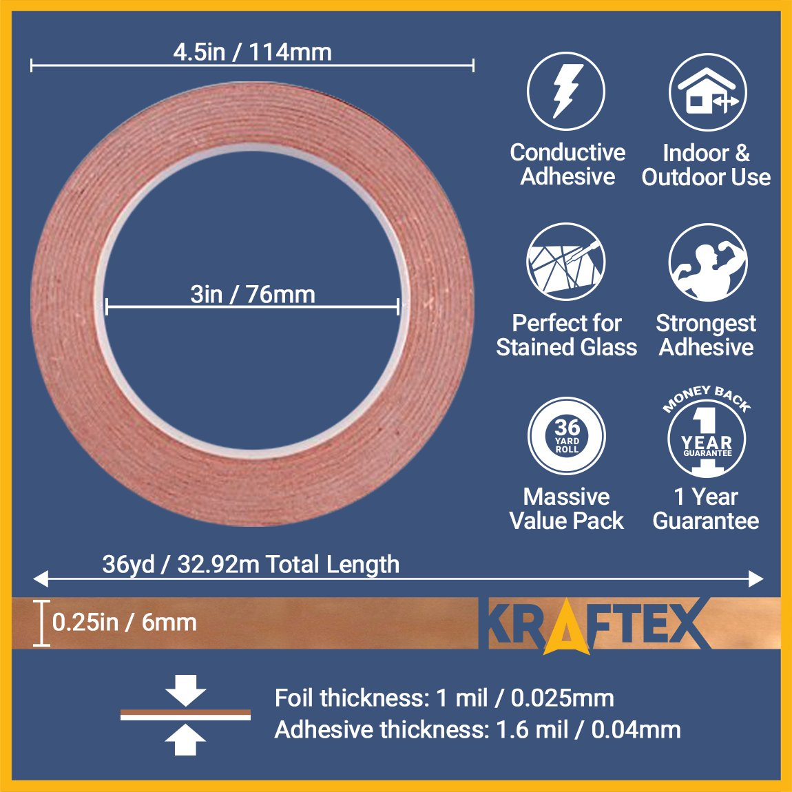 Copper Foil Tape [2 HUGE ROLLS] (1/4inch X 36yd each) 72 Yard Pack with Conductive Adhesive - Stained Glass, Soldering, Electrical Repair, Grounding, EMI Shielding - Extra Value Pack- Thicker Foil Kraftex 4336904790