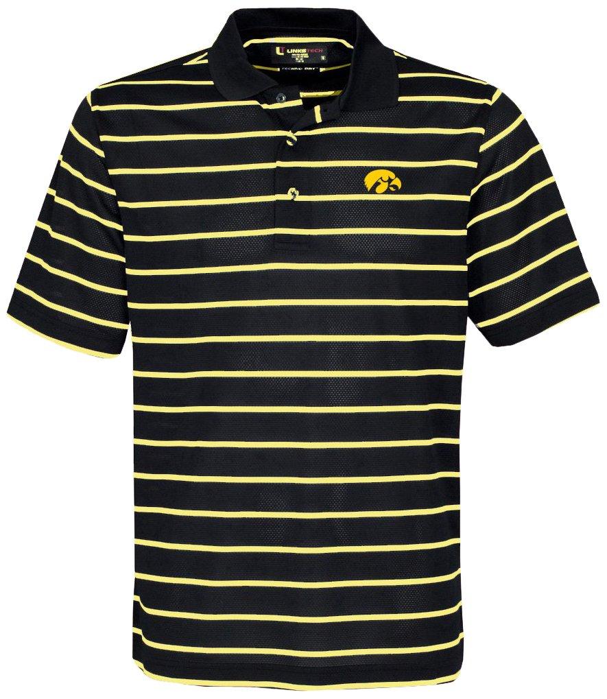 NCAA Iowa Hawkeyes Men's Pebble Texture Golf Polo Black Vegas Gold Large