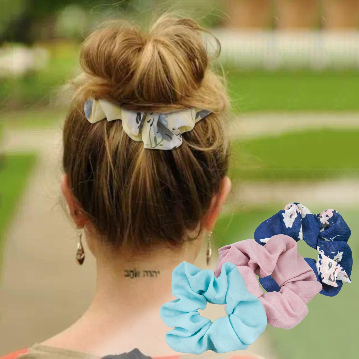 EAONE 16 Pieces Chiffon Hair Scrunchies Flower Hair Scrunchies Ties Hair Bobbles Ponytail Holder with Pouch Bag for Women Girls, 16 Colors by EAONE (Image #5)