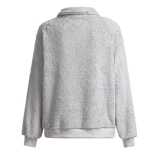 Kumike Fashion Women Warm Fluffy Fleece Winter Top 1/4 Zipper Sweatshirt Ladies Pullover Jumper at Amazon Womens Clothing store: