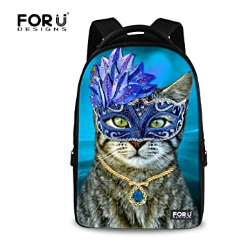 e2ccf89135cd For U Designs Large Blue Cat Animal Design Backpack Laptop Bag Pack