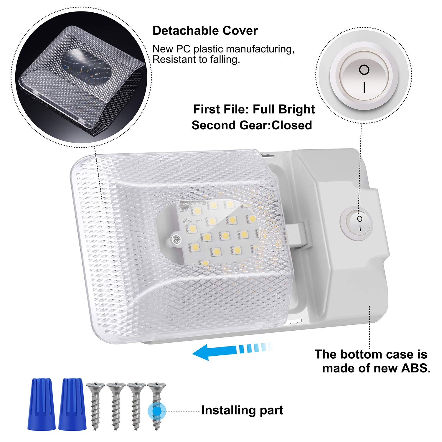Natural White ShinePick 4 Pack Upgraded Super Bright DC 12V Led RV Ceiling Double Dome Light RV Interior Lights with ON//Off Switch for Trailer Camper Car RV Boat