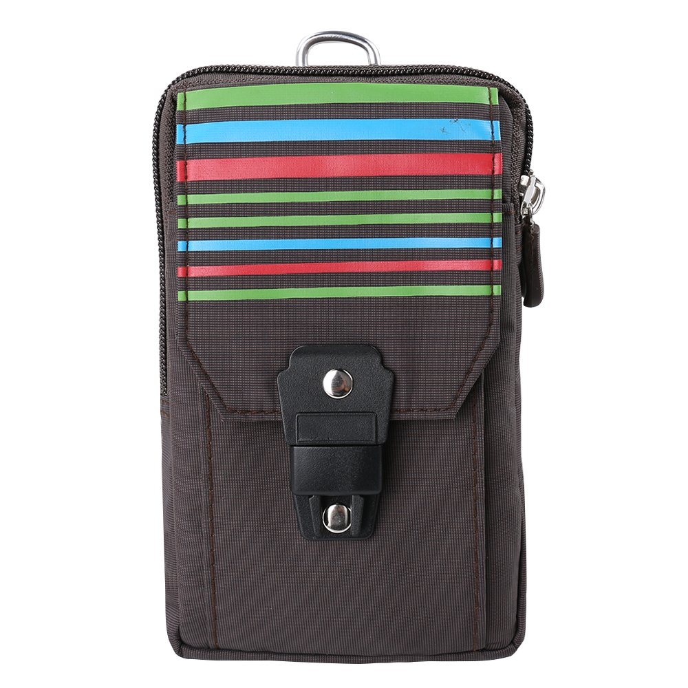 SLectionAccess Stripe Nylon Travel Pouch with Buckle and Carabiner Wallet Case - Retail Packaging - Brown