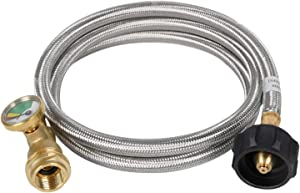 GasSaf 5FT Propane Tank Extension Hose with Gauge Replacement for Propane Tank, RV, Gas Grill Connection,Acme to Male QCC/POL Fittings