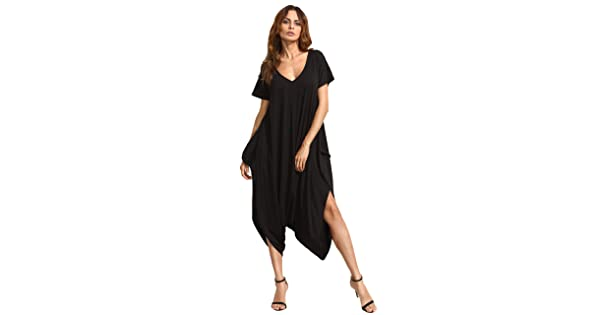b11a1227c10b comSheIn Women s Casual Loose V Neck Short Sleeve Harem Jumpsuit Medium  Black