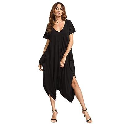 SheIn Women's Casual V Neck Short Sleeve Loose Harem Jumpsuit Romer: Clothing