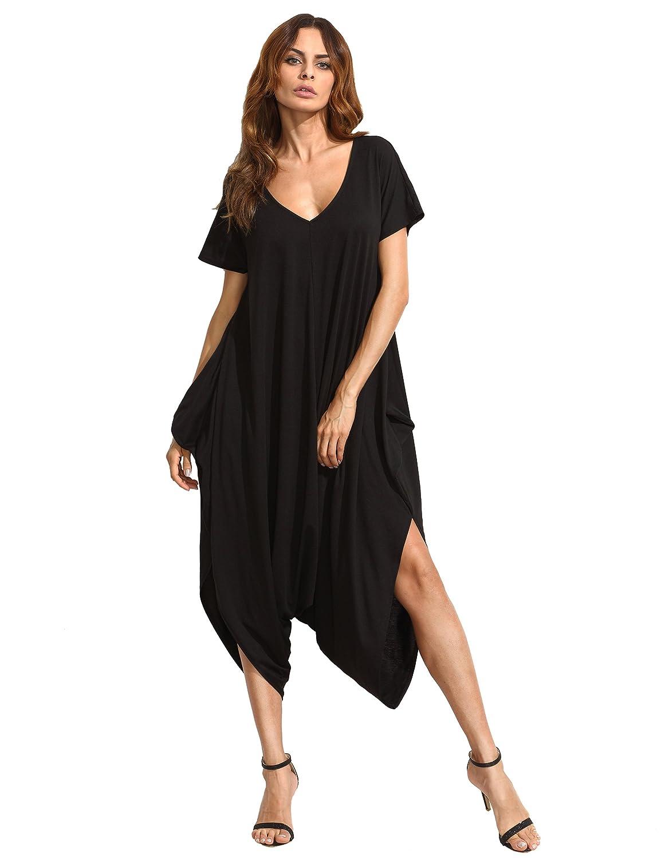 1c3095522f98 Shein womens casual neck short sleeve loose harem jumpsuit romer clothing  jpg 1154x1500 Curvy harem jumper