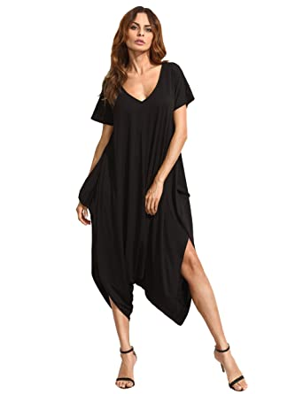 c2a8aedc0f9c SheIn Women s Casual Loose V Neck Short Sleeve Harem Jumpsuit X-Small Black