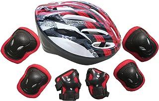 Hipsteen Kit de Protections 7 pièces/3 paires - Protège-Paume + Coudière + Genouillère +1 Casque de Protection/Vélo(Rouge) de skateboard, roller, patin à glace etc. pour adulte patin à glace etc. pour adulte(S/M/L)