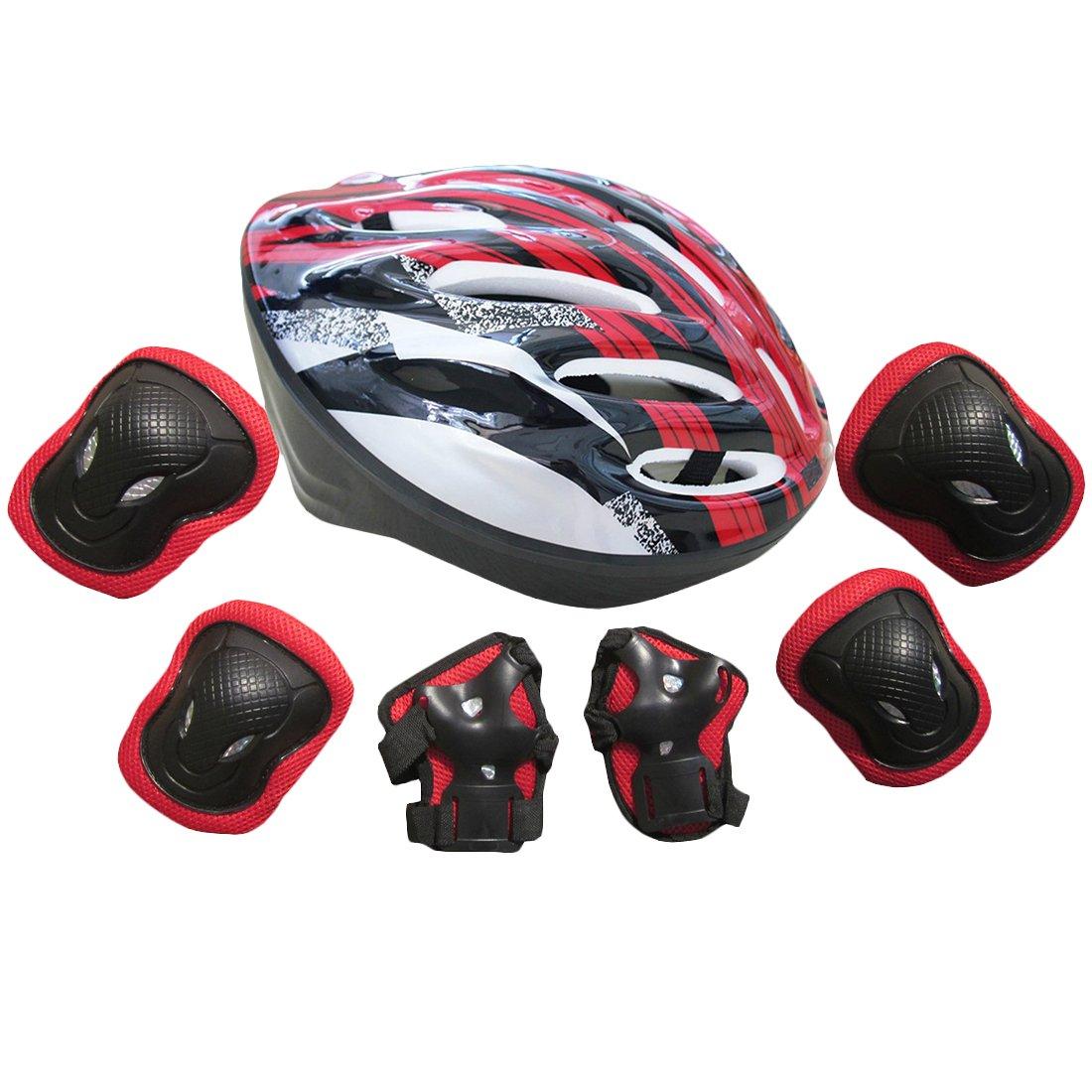 Hipsteen Kit de Protections 7 pièces/3 paires - Protège-Paume + Coudière + Genouillère +1 Casque de Protection/Vélo(Rouge) de skateboard, roller, patin à glace etc. pour adulte