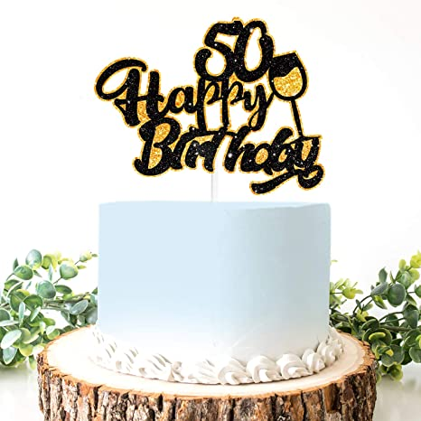 Sensational Amazon Com Aerzetix Birthday Decoration Happy 50Th Birthday Cake Personalised Birthday Cards Veneteletsinfo