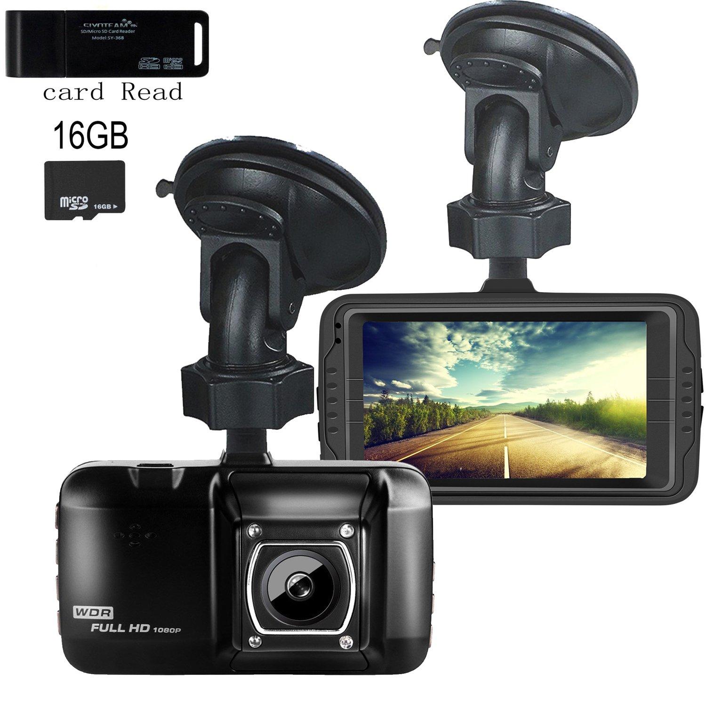 ダッシュカム、EvASAフルHD 1080p G -センサー、ナイトビジョン、WDR、ループ録画、170 ° Wide Angle 3.0