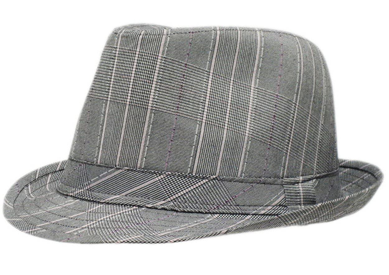 f92b7fcbc27 Mens Prince Of Wales Tweed Trilby Fedora Hat in Light Grey: Amazon.co.uk:  Clothing