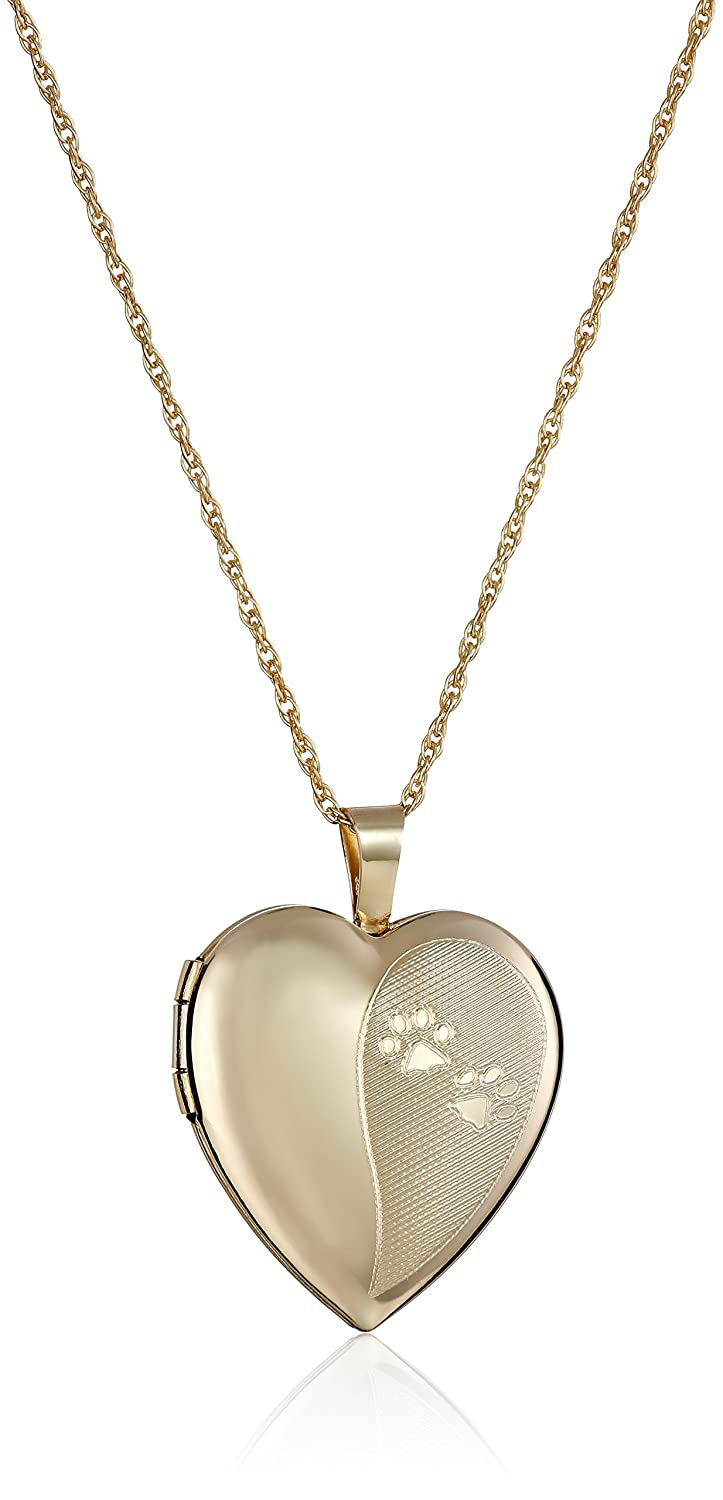 14k Gold-Filled Heart Dog Paw Locket Necklace, 18 18 Amazon Collection AMZ249F