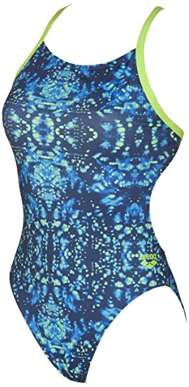 caad460549a Arena Women's Tie Dye Challenge MaxLife Thin Strap Open Back Onepiece  Swimsuit, Navy/Leaf