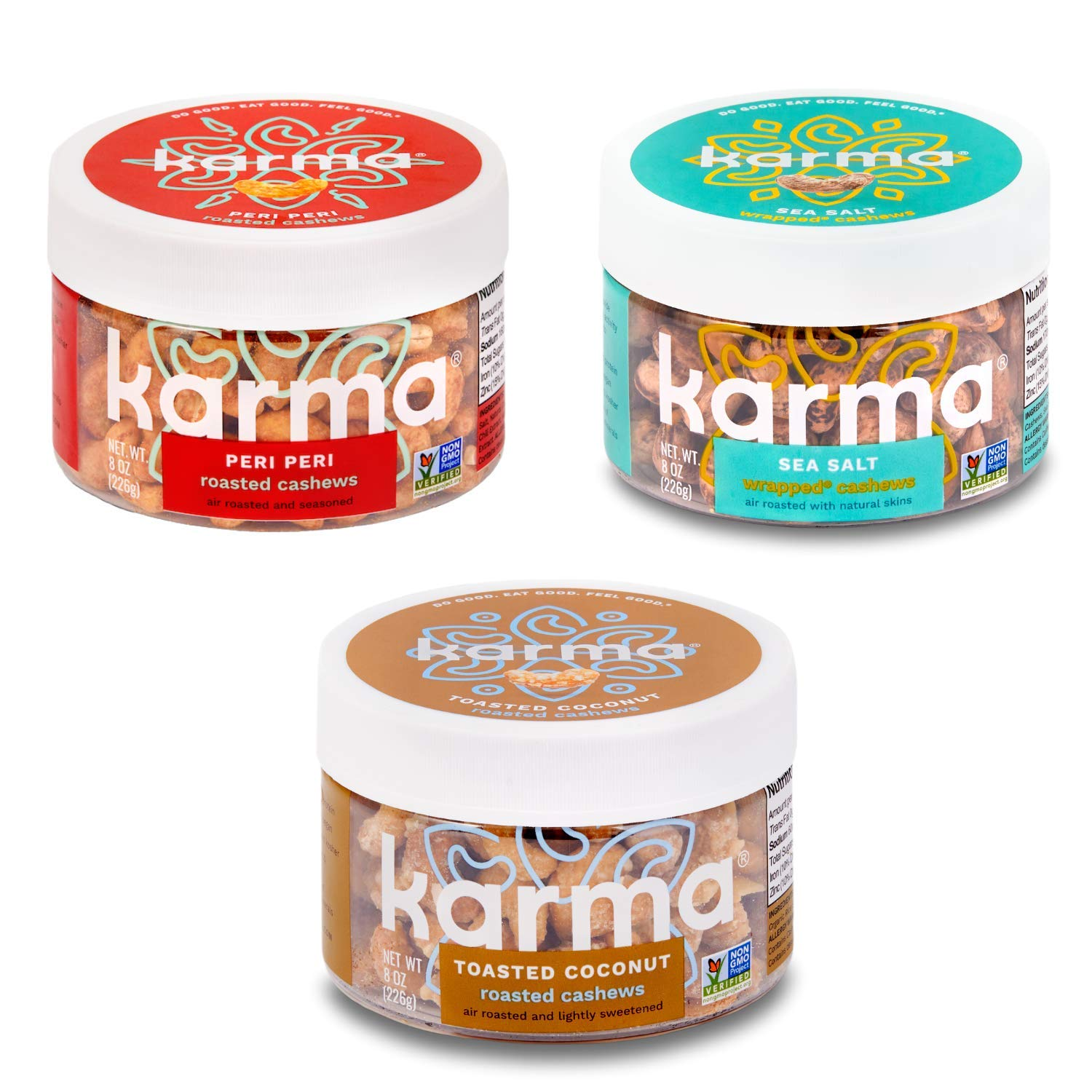 Karma Nuts Cashews Variety Pack, Whole, Roasted, Vegan, Non Gmo, Gluten Free, Low Carb, Low Calorie, Natural, Healthy, Everyday Nut Snack (Best Sellers Variety Pack)