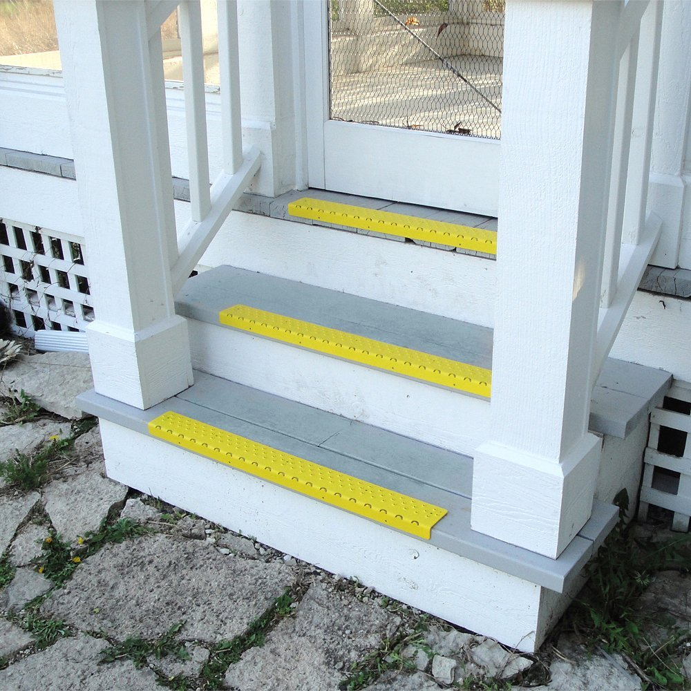 Handi-Treads Non Slip Aluminum Stair Nosing,  Powder Coated Safety Yellow, 2.75'' x 30'' with Color Matching Wood Screws, Each