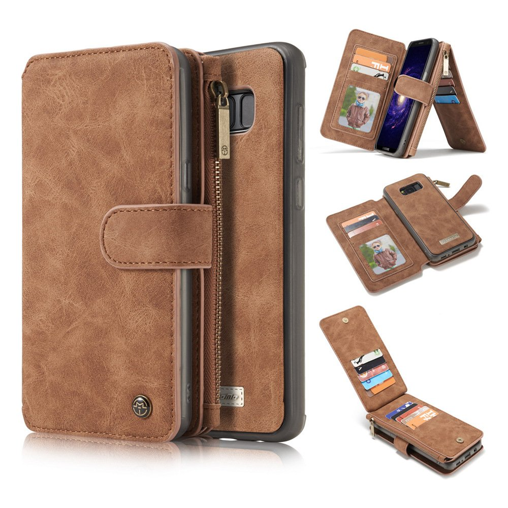 Samsung S8 Plus Case,Vacio Zipper Card Slots Money Pocket Clutch Cover Wallet Retro Vintage Stand Smart Wallet Credit Billfold Pouch Magnetic Phone Sleeve Case for Samsung S8 Plus-Light Brown