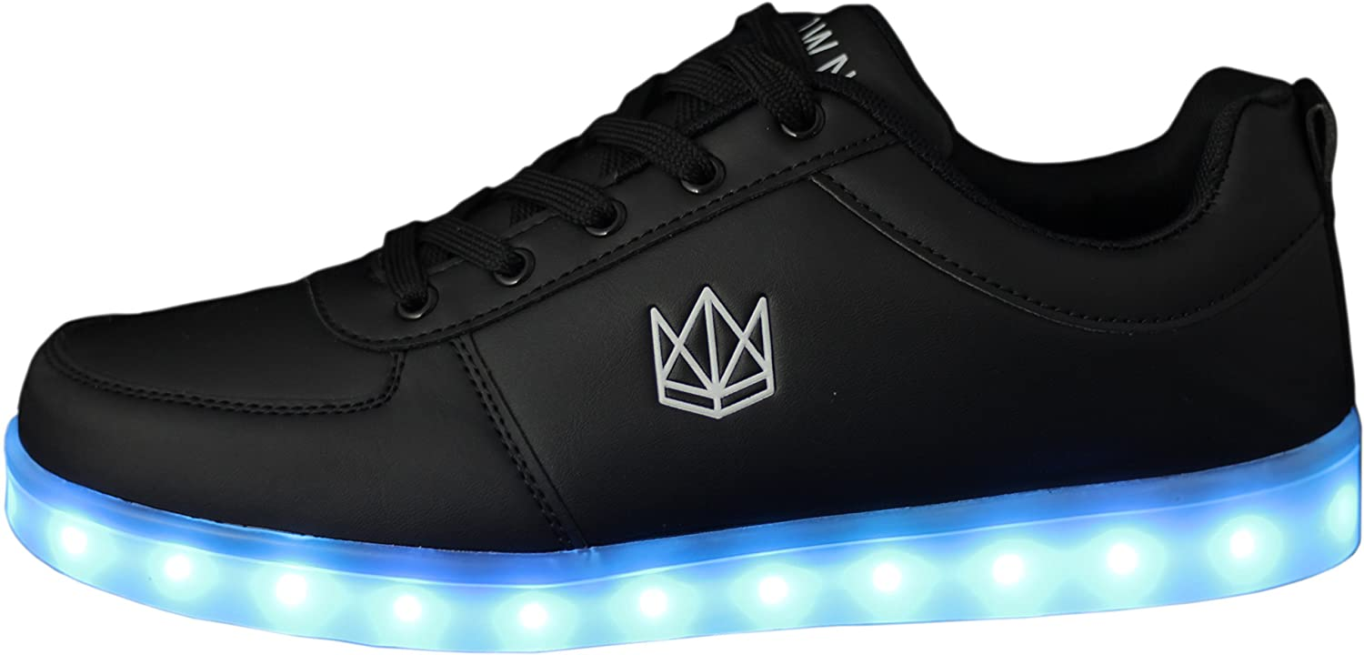 sports shoes b66fa 0d9e9 CROWN Shoes Classic LED Schuhe für Damen, Herren, Kinder, Unisex Sneaker  (Top Deutscher Händler, 7 Farben mit USB-Ladekabel)