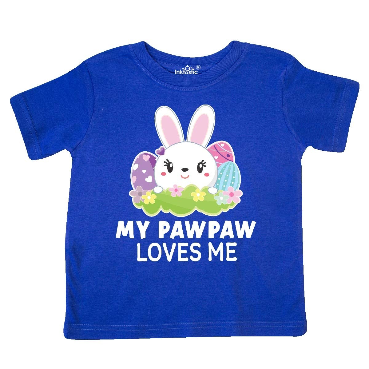 inktastic My Pawpaw Loves Me with Bunny and Easter Eggs Toddler T-Shirt