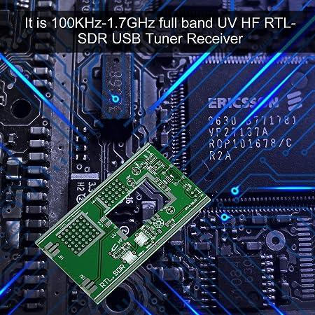 Laurelmartina 100KHz-1.7GHz Full-Band FM DSB UV HF RTL-SDR Sintonizador USB Receptor R820T + RTL2832U + Antena U/V Kits de Bricolaje Software Radio ...