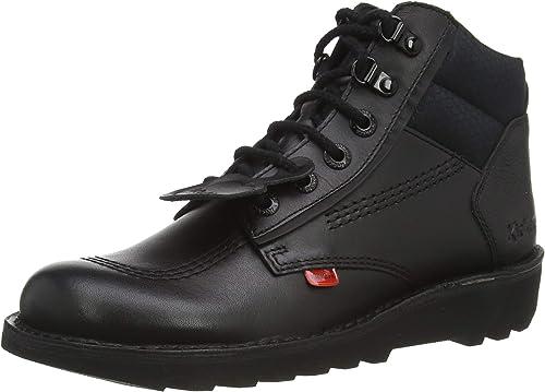 Kick Hi Flex Black Leather Shoes