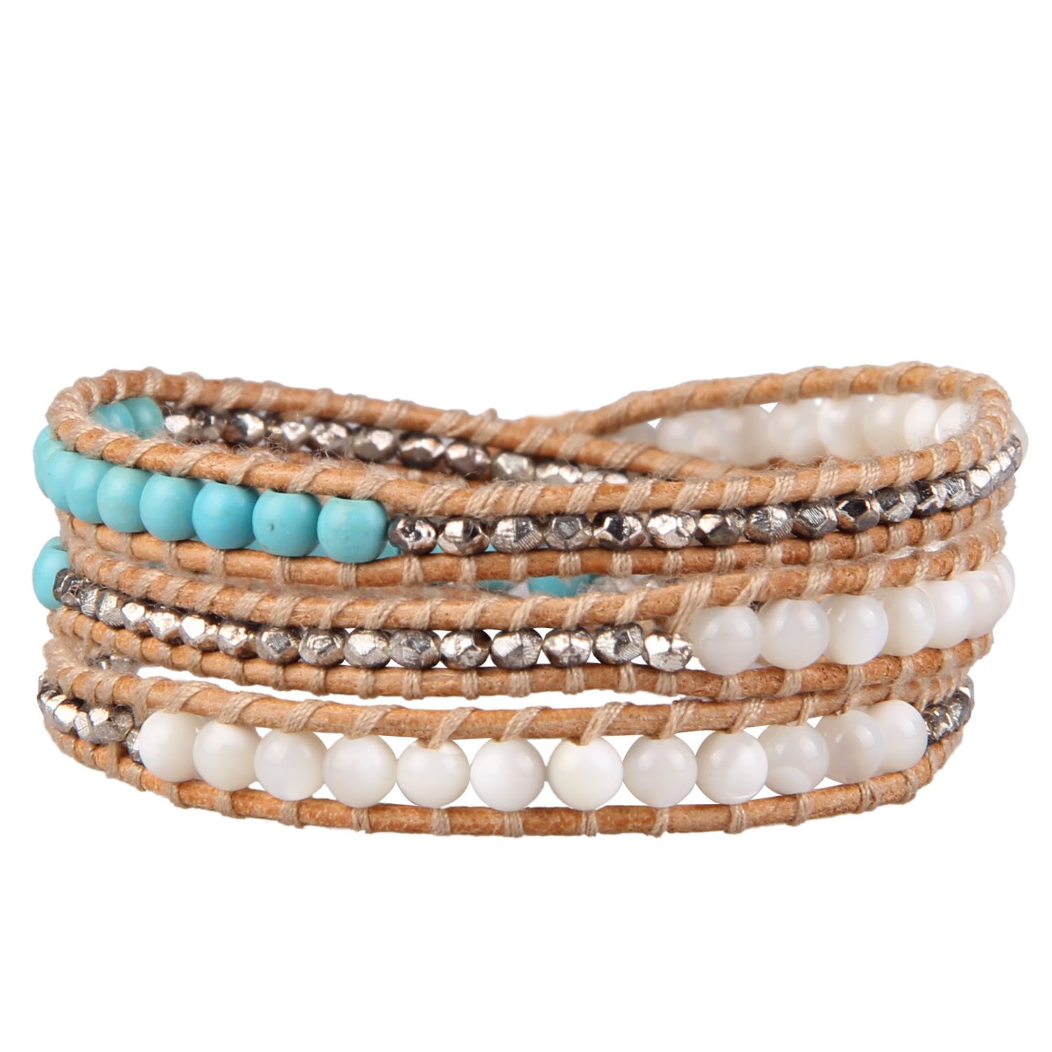 KELITCH Turquoise Mother of Pearl Silver Mix Beaded 3 Wrap Bracelet Handmade New Cuff Jewelry