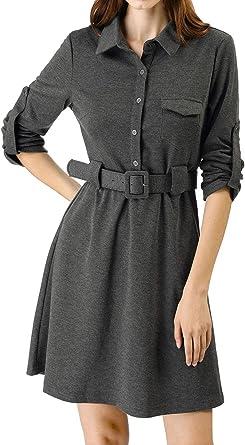 Allegra K Vestido De Camisa con Cinturón por Encima De La Rodilla Botón Collar De La Solapa para Mujeres