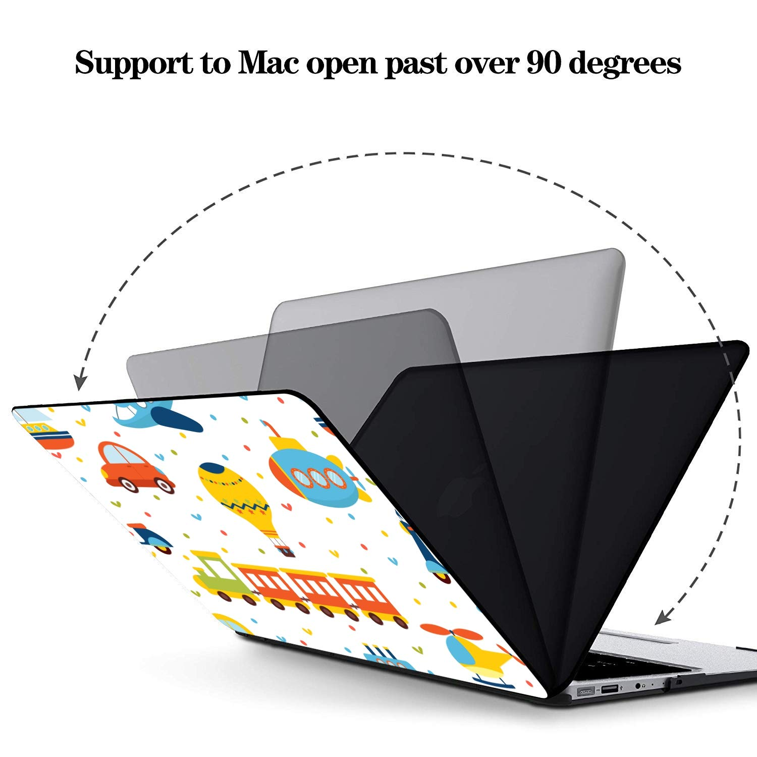 MacBook Pro Laptop Case Cartoon Transport Vehicle Plastic Hard Shell Compatible Mac Air 11 Pro 13 15 MacBook Air Case 13 Protection for MacBook 2016-2019 Version