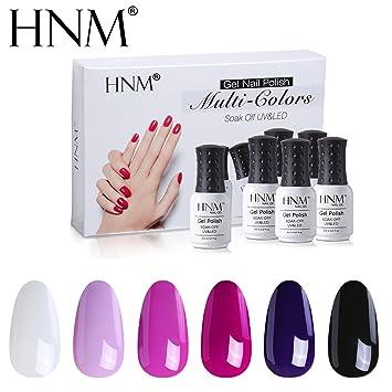 Amazon.com : HNM Gel Nail Polish Set Soak Off UV LED Nail Varnish ...