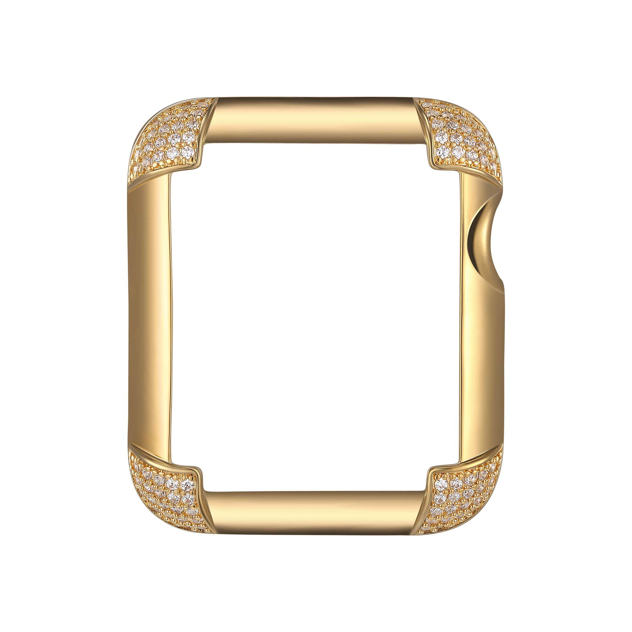 18K Yellow Gold Plated Jewelry-Style Apple Watch Case with Cubic Zirconia CZ Pavé Corners - Small (Fits 38mm iWatch)