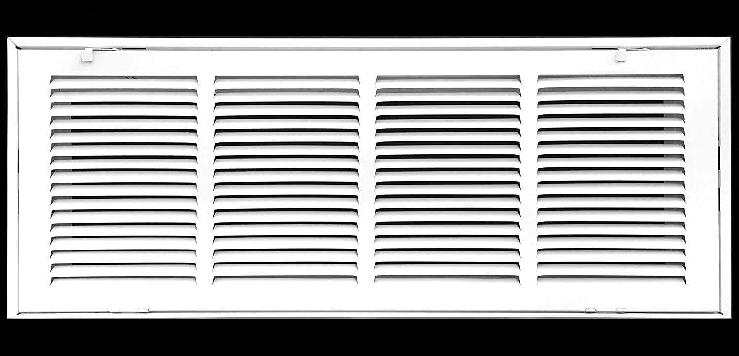 "24"" X 8 Steel Return Air Filter Grille for 1"" Filter - Fixed Hinged - Ceiling Recommended - HVAC Duct Cover - Flat Stamped Face - White [Outer Dimensions: 26.5 X 9.75]"