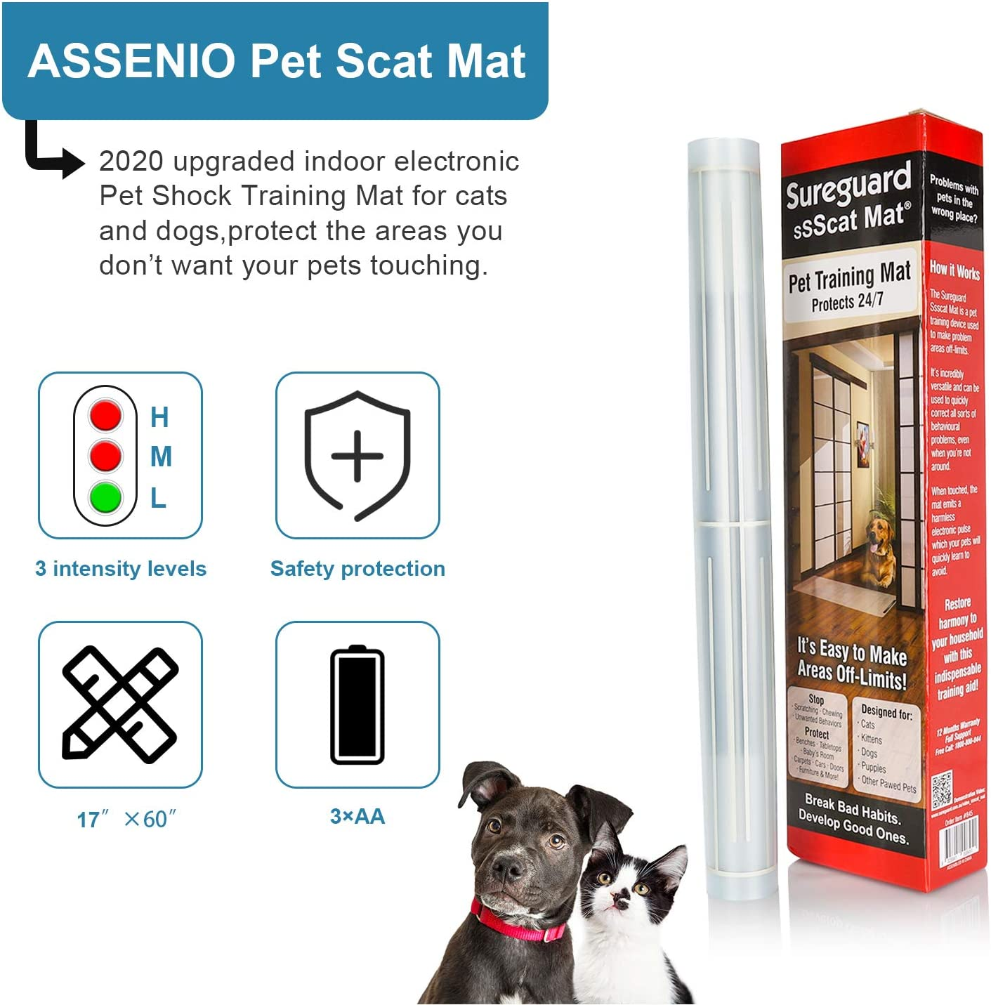 Indoor Electronic Pet Shock Training Mat for Dogs and Cats Keep Pets Away from Unwanted Places ASSENIO Scat Mat for Dog 2020 Upgraded