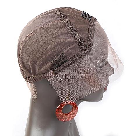 Bella Hair Casquillos Pelucas de Encaje Simple para Pelucas Fabricación Marrón Oscuro Tamaño Medio - con