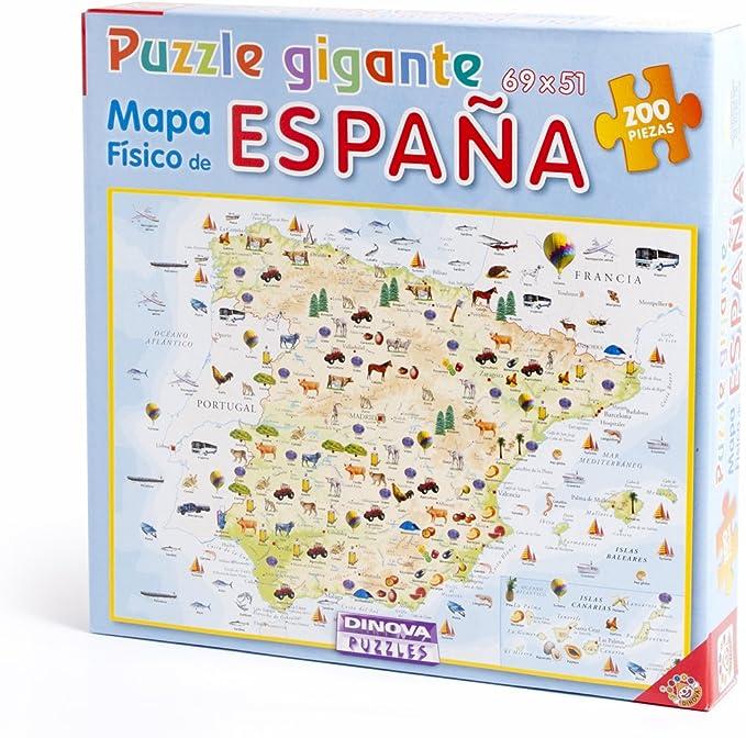 Dinova - Mapa físico de España, Puzzle de 200 Piezas (D0799009 ...