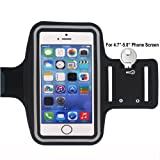 "Phone 6s Armband,iPhone 6 Armband,Shalwinn iPhone 6s Armband,iPhone 6 Armband Arm Phone Holder For Running Water Resistant for iPhone 6, 6S,5, 5S, 5C, All iPods ( Black 4.7-5.0"" Screen )"