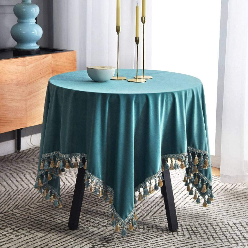 ILMF Soft Tablecloth, Stain Resistant Washable Polyester Table Cloth Tassel Rectangle Table Cover Great for Restaurant Kitchen Living Room-B-130x200cm(51x79inch)