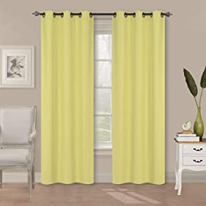 """Home Collection 2 Panels 100% Blackout Curtain Set Solid Color with Rod Pocket Grommet Drapes for Kitchen, Dinning Room, Bathroom, Bedroom ,Living Room Window New (74"""" Wide X 83"""" Long, Yellow)"""