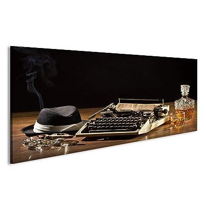 Cuadro Cuadros Retro máquina de escribir, cigarro, sombrero y whisky con jarra Impresión sobre