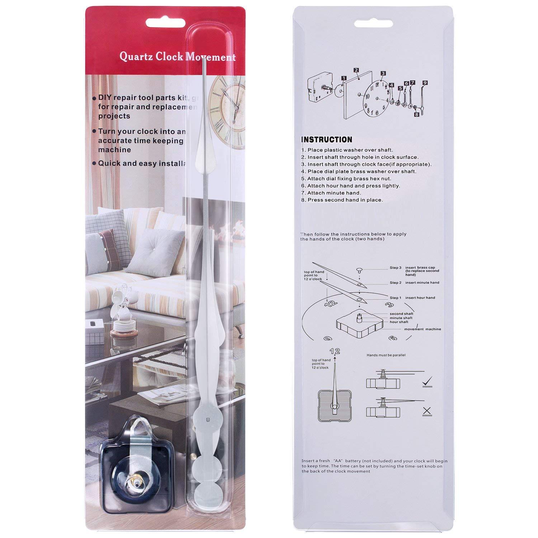 Hicarer High Torque Long Shaft Clock Movement Mechanism with 12 Inch Long Spade Hands Black