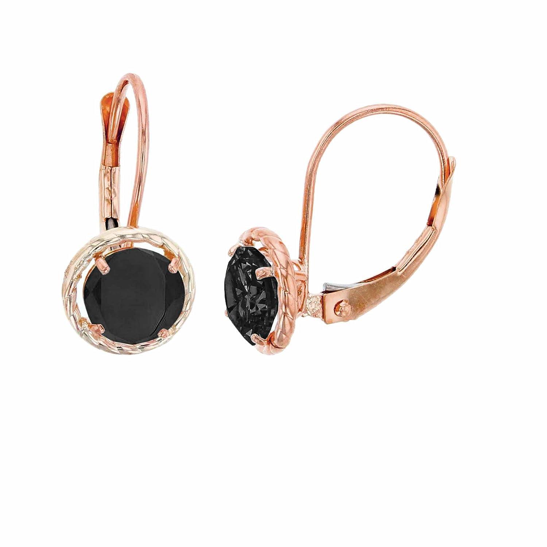 10K Rose Gold 5mm Round Onyx Center Stone Rope Frame Leverback Earring