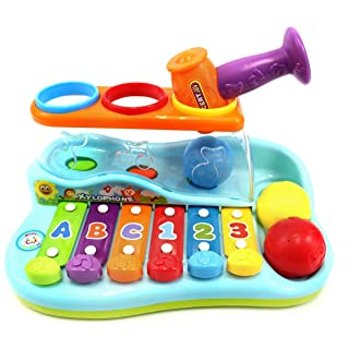 PowerTRC Rainbow Xylophone Piano Pounding Bench for Kids with Balls and Hammer
