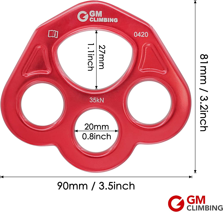 GM escalada 35 KN Rigging placa de pata de oso Anchor cuerda de multiplicadores Friendly