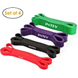 INTEY Unisex-Adult INTEY Pull up Assist Band Exercise Resistance Bands for Workout Body Stretch Powerlifting Set of 4 INTEY, Set of 4 Bands, Set of 4 Bands