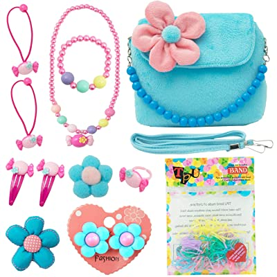 SOTOGO 13 Pieces Plush Purses Flower Handbag with Hair Clip, Necklace, Bracelet, Earrings Ring, Brooch and Rubber Bands for Little Girls and Toddlers: Toys & Games [5Bkhe1401621]