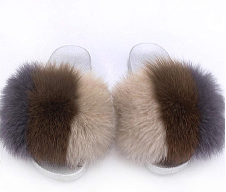 Fur Slippers Open Toe Fox Fur Beach Slides Womens Furry Flip Flops Fox Hair Shoes,7.5